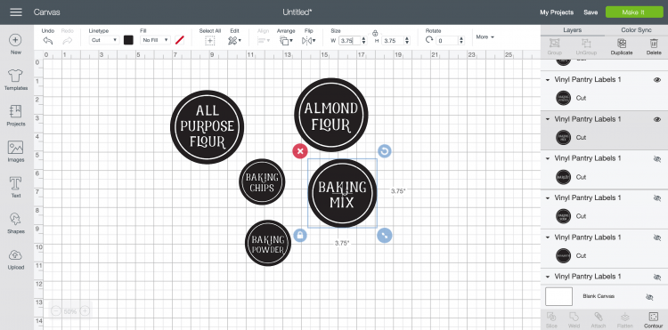 Using the size tool in the top Edit Toolbar, change the size of your labels to fit on your jars.