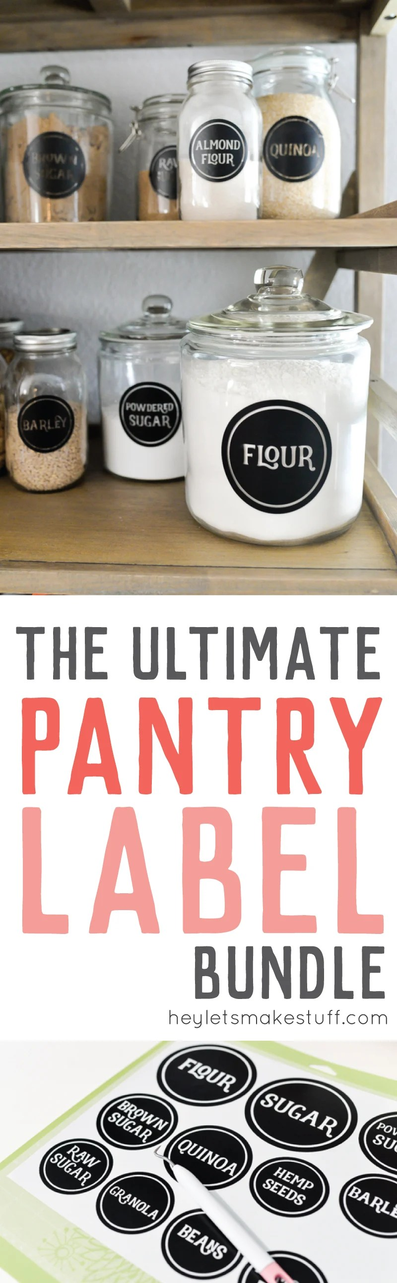 Organize your pantry with these vinyl pantry labels! Download this ultimate bundle of 126 SVG labels, and cut them out on your Cricut or other electronic cutting machine! Includes a tutorial for applying the vinyl labels to your jars or canisters. via @heyletsmakestuf