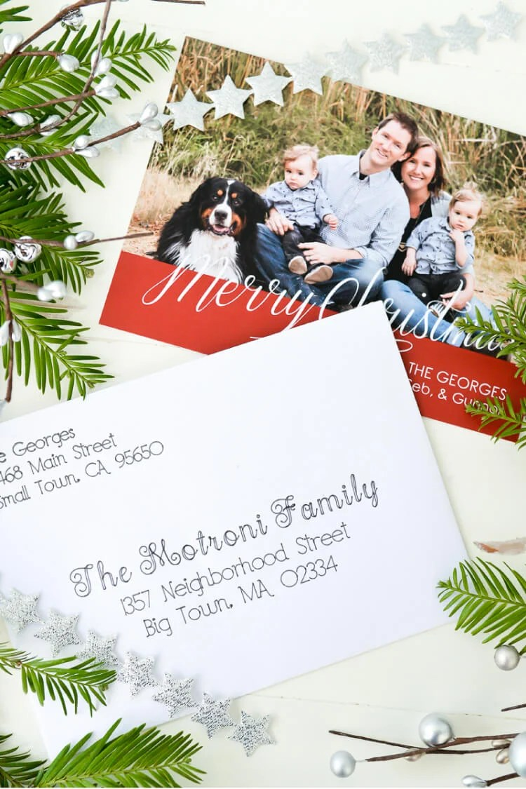 """Put your Cricut Explore to work—have it address Christmas cards! Using the pen tool, the Cricut Explore can beautifully """"hand letter"""" your Christmas cards for you."""