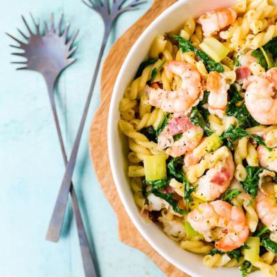 Creamy Shrimp and Kale Pasta