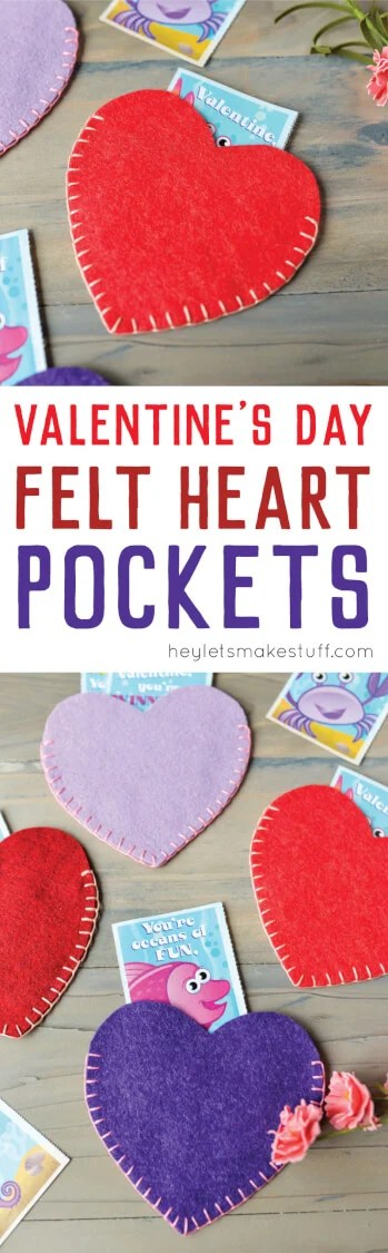 Whip up these Valentines Day felt heart pockets using a blanket stitch. Perfect for storing your stash of valentines or a gift card. via @heyletsmakestuf