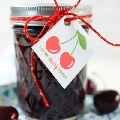 Cherry Bourbon Compote + Free Printable Gift Tag