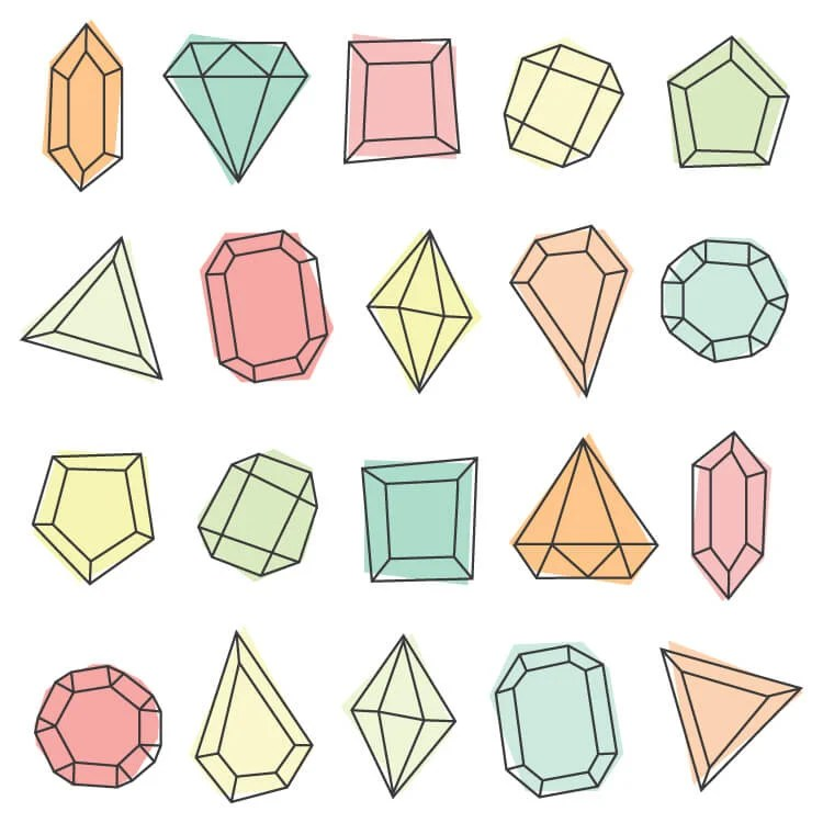 All 20 gems included in this pack. Gem clipart brings modern glam style to any of your projects! Twenty cute PNGs are perfect for nursery decor, baby showers, or anywhere else you need a touch of sparkle.