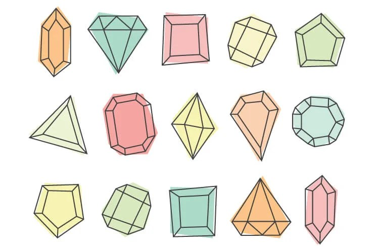 Gem clipart brings modern glam style to any of your projects! Twenty cute PNGs are perfect for nursery decor, baby showers, or anywhere else you need a touch of sparkle.