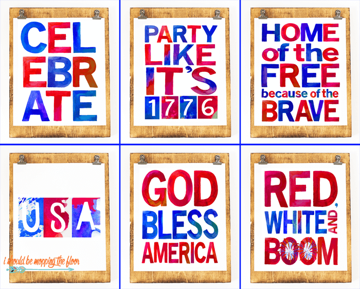 I Should Be Mopping the Floor - Six Patriotic Printables - Celebrate the 4th of July with these free patriotic printables! Get more than 20 red, white, and blue printables from your favorite bloggers!