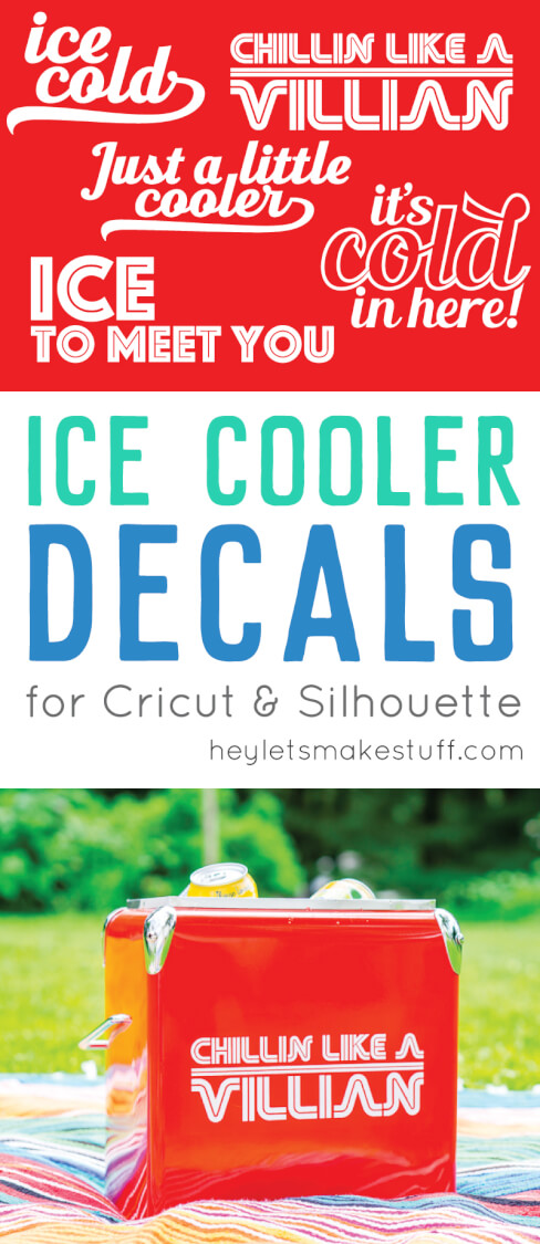 Deck out your cooler with one of these free cut files for the Cricut or Silhouette! These ice cooler decals are a fun way to make your cooler, well, cooler! via @heyletsmakestuf