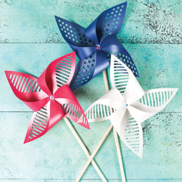 patriotic pinwheels in red, white, and blue