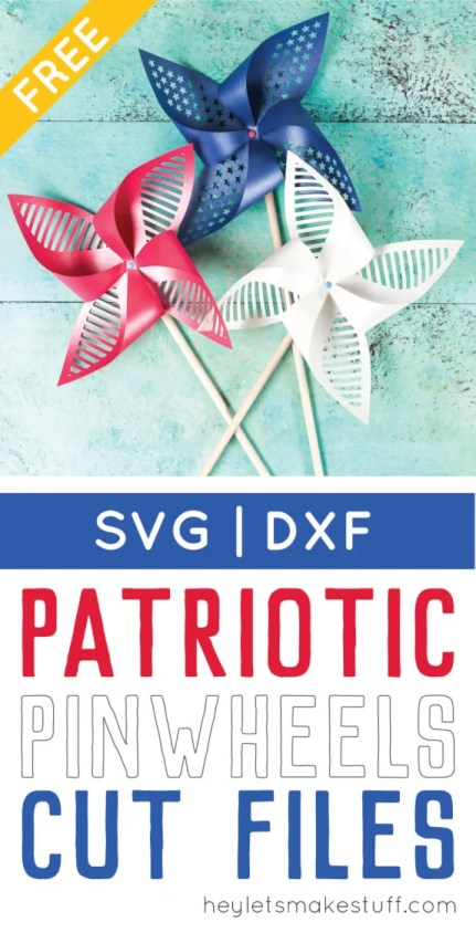 Get the free SVG/DXF cut files for these decorative patriotic pinwheels! Delicate cut-outs made using your Cricut Explore make these star-spangled pinwheels a hit at any 4th of July party.
