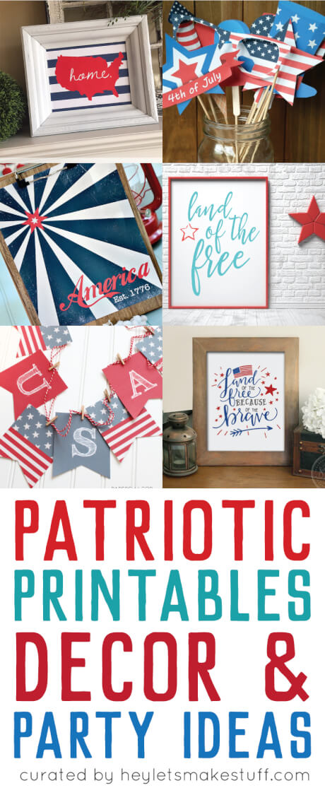 Celebrate the 4th of July with these patriotic printables! Get more than 20 red, white, and blue printables from your favorite bloggers! via @heyletsmakestuf