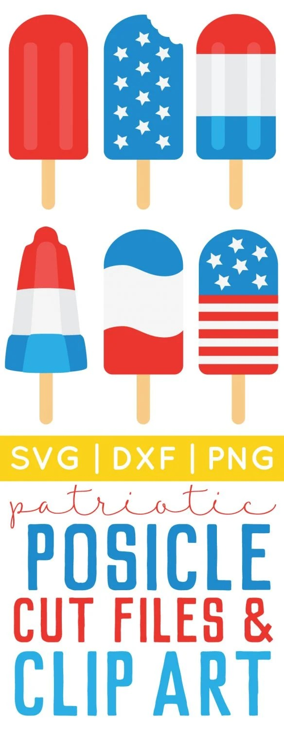 Patriotic Popsicle Clip Art and SVG Files Pin Image