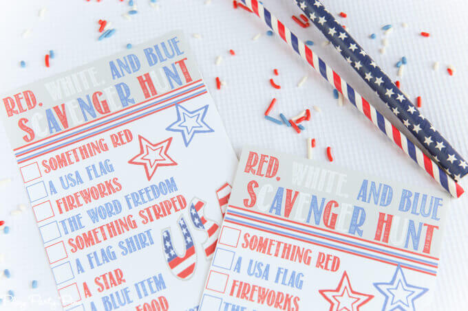 Play Party Plan Red White and Blue Scavenger Hunt - Celebrate the 4th of July with these free patriotic printables! Get more than 20 red, white, and blue printables from your favorite bloggers!
