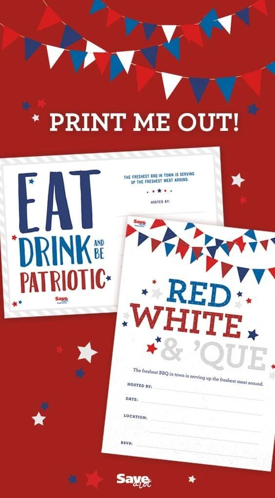 Save-a-Lot Barbecue Invitations - Celebrate the 4th of July with these free
