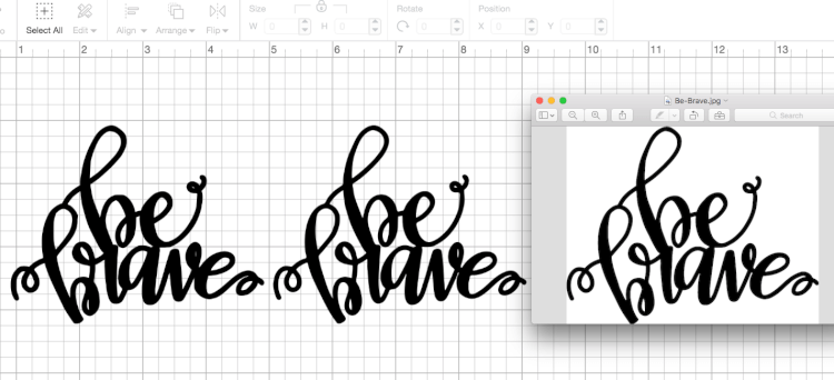 Comparison between Cricut Design Space, Illustratori, and the original file - Creating an SVG in Illustrator - These are great tips and tricks for using the Cricut Design Space or Illustrator to convert your doodles, writing, and other hand-drawn images into an SVG that you can cut on the Cricut Explore!