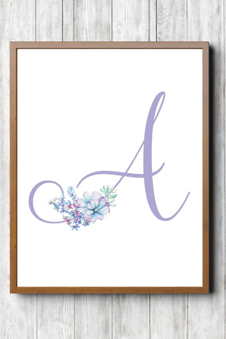 These trendy purple succulent nursery initials are the perfect finishing touch to your little girl's room! Download all 26 letters for free and print at home.