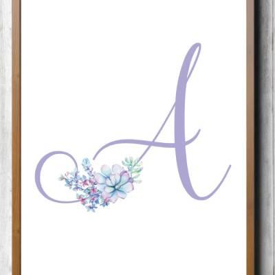 Free Printable Purple Succulent Nursery Initials