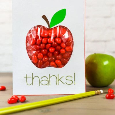Back to School Apple Candy Pouch Card
