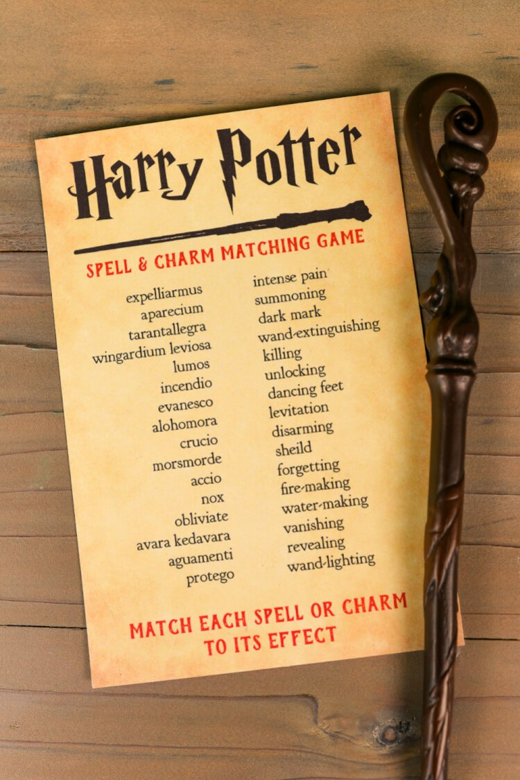 Think you know your Harry Potter spells and charms? Print out this Harry Potter spell and charm matching game and put your skills to the test! A magical game for any Harry Potter party.