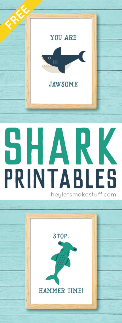 Download and print these adorable shark printables! You'll love these deliciously funny puns as much as the totally modern sharks -- perfect for Shark Week! via @heyletsmakestuf