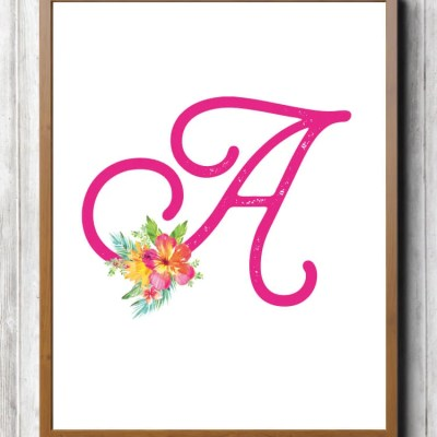 Free Printable Tropical Nursery Initials