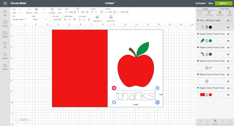 This apple candy pouch card is a great way to celebrate back to school with a new teacher, or give it in honor of Teacher Appreciation Day! Free cut files for the Cricut Explore.