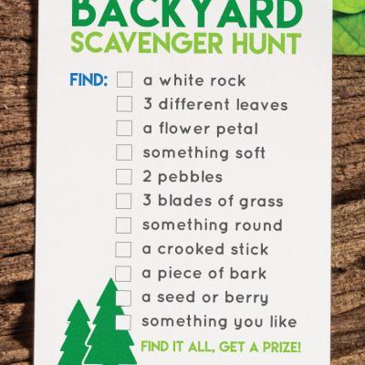 Printable Back Yard Scavenger Hunt