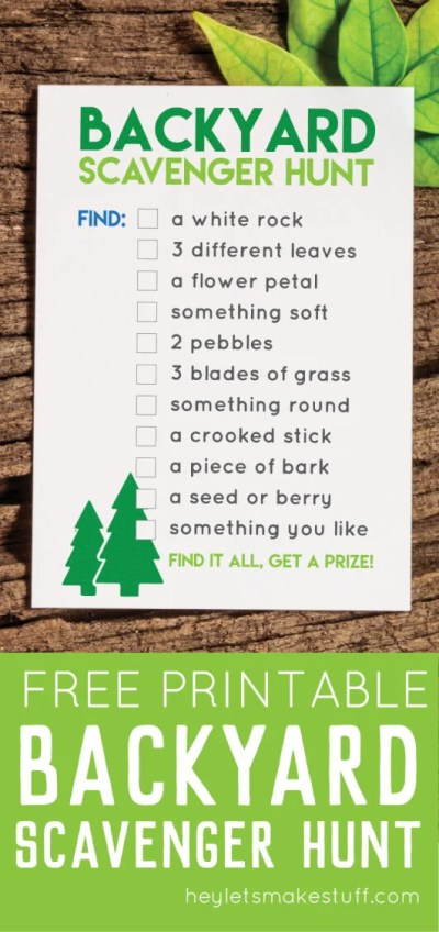 This printable backyard scavenger hunt is a great way to entertain kids of all ages at any outdoor party! This list of items can be found in almost any yard or park -- kids LOVE checking off this list!