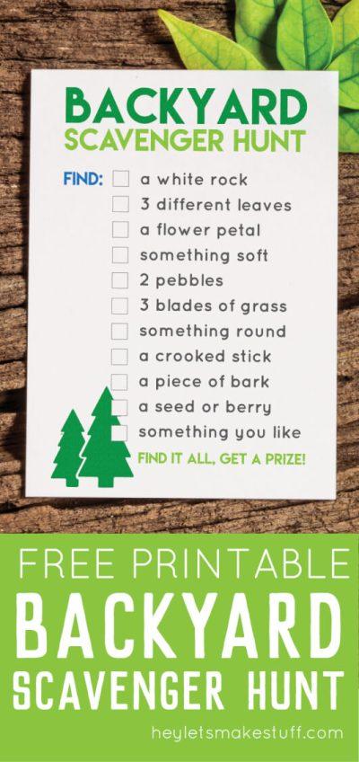 Printable Back Yard Scavenger Hunt - Hey, Let's Make Stuff