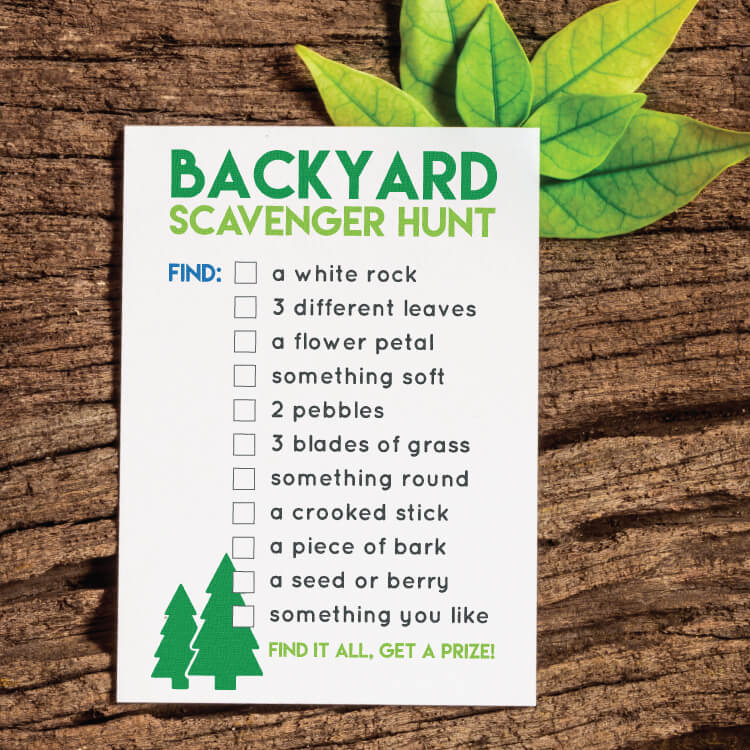 Printable Back Yard Scavenger Hunt