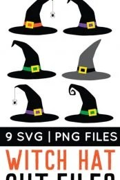 Grab your broom and download these spooky witch hat cut files and PNG clip art! Nine designs for all of your Halloween projects.