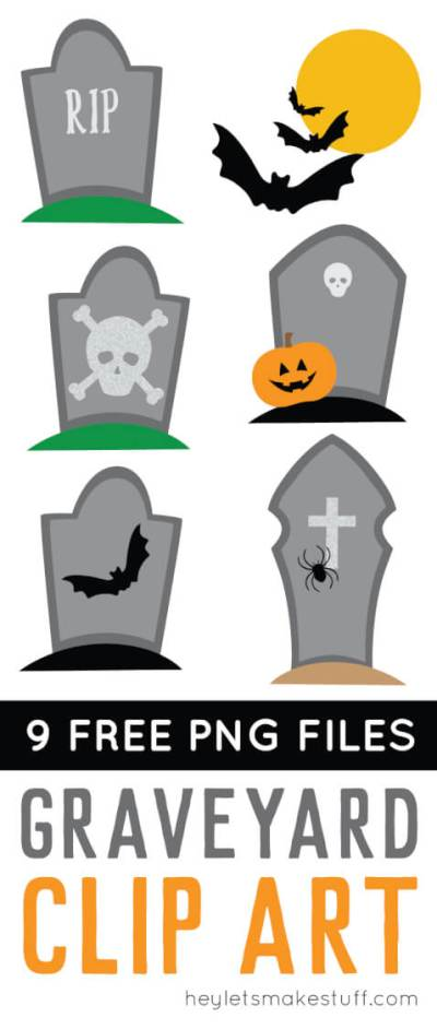 Rest in peace! Download these haunted graveyard clip art files! Nine PNG designs for all of your spooky Halloween projects.