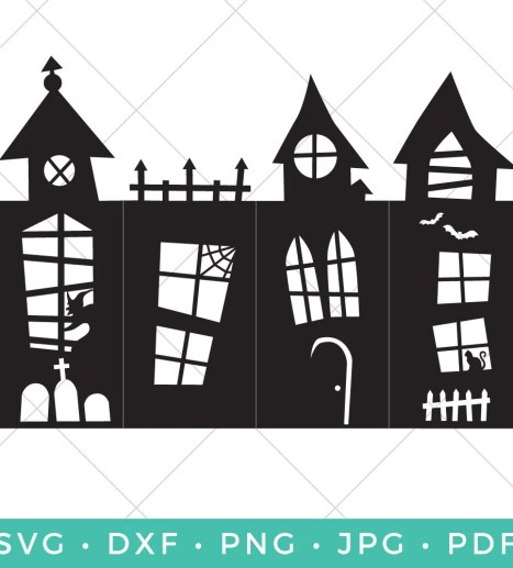 Cut this Haunted House Lantern on your Cricut or other cutting machine—perfectly spooky decor for your Halloween table or mantel!