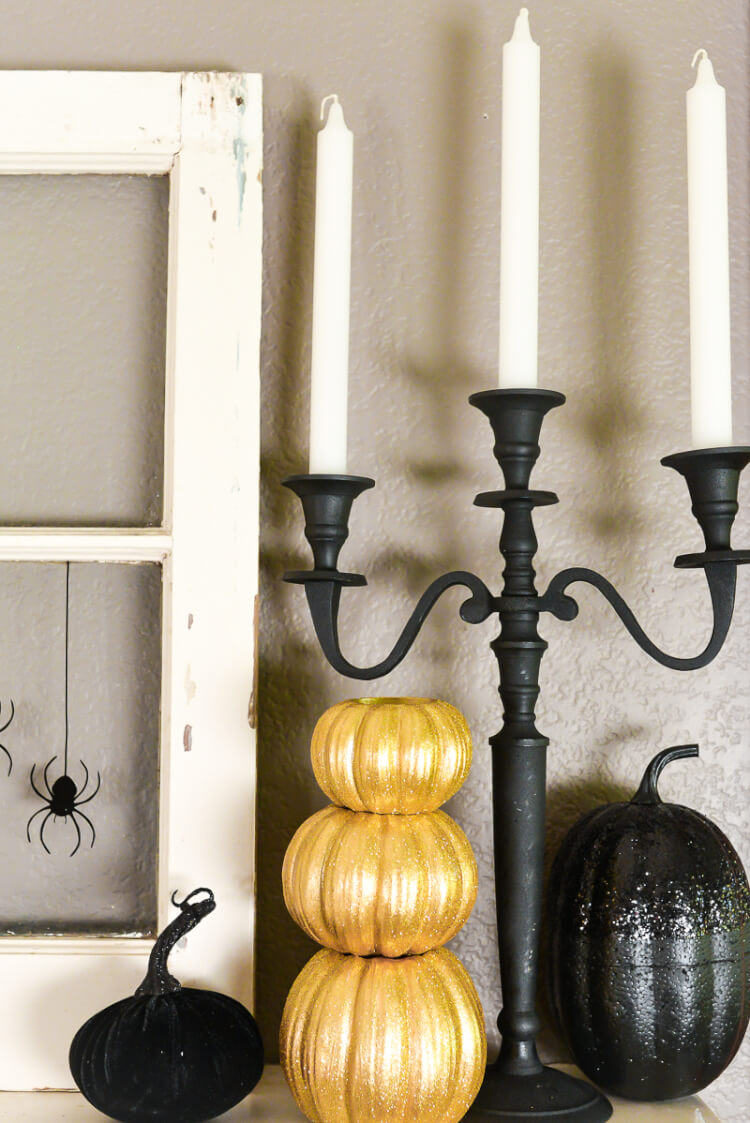 This year has been all about Glam Halloween! My Halloween mantel is a sophisticated  mix of black, white, and gold spider-inspired decor! Also get individual tutorials for all the projects seen here.