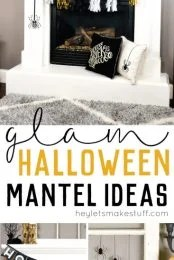This year has been all about Glam Halloween!My Halloween mantel is a sophisticated mix of black, white, and gold spider-inspired decor! Also get individual tutorials for all the projects seen here.