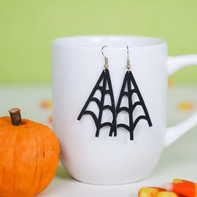 Faux Suede Spider Web Earrings