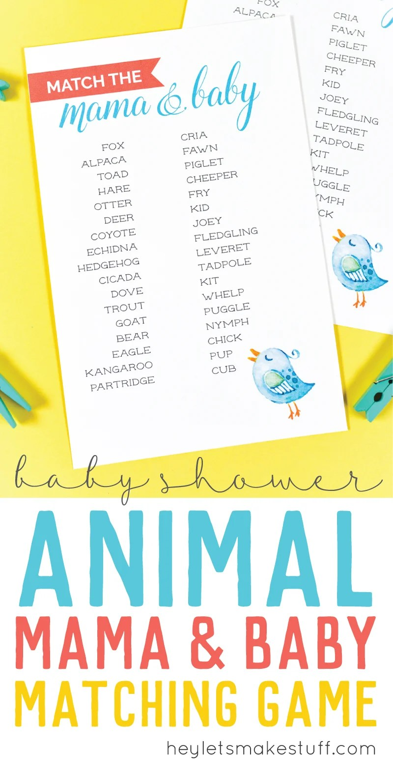 image regarding Animal Matching Game Printable titled No cost Printable Child Shower Recreation: Recreation the Mama in direction of Her Child