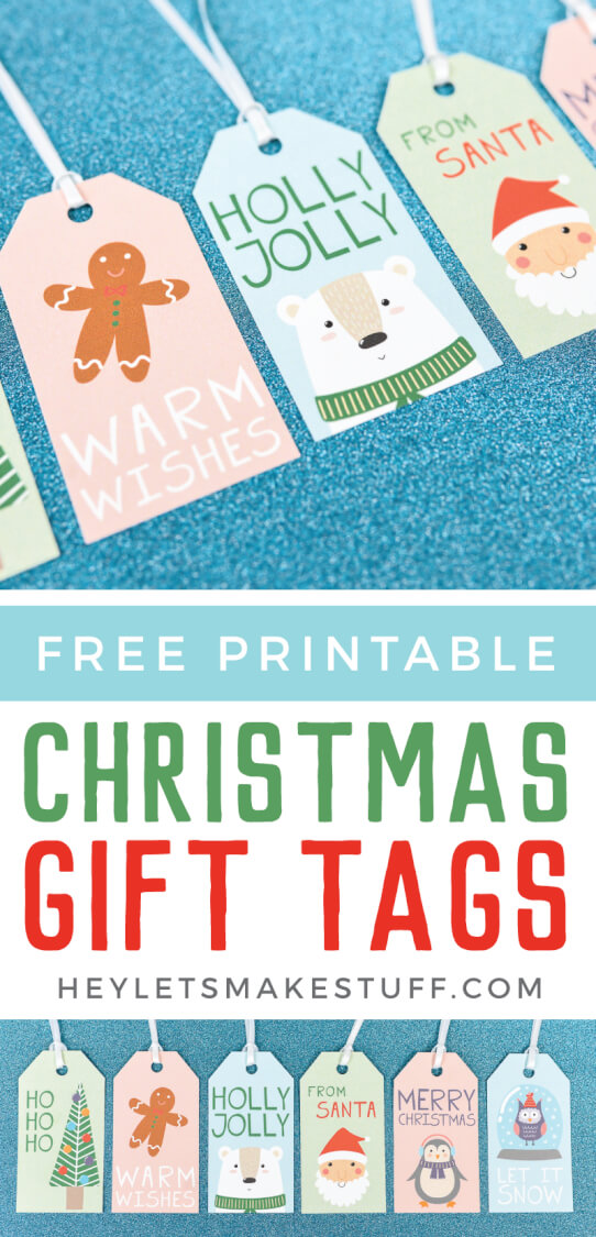 Add a bit of sweetness to your gift wrap with these cute Christmas gift tags! These printable gift tags are perfect for adding some adorable personalization to your Christmas presents! via @heyletsmakestuf