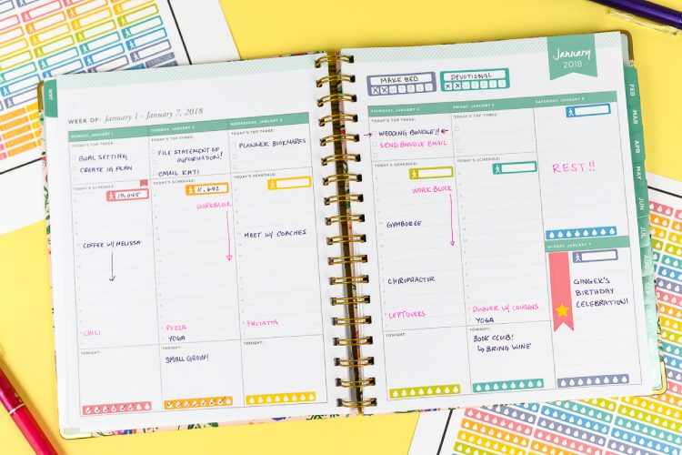 Use Cricut's Print then Cut feature to make your own printable planner stickers! Plus get three free New Year's resolution printable sticker sheets—a hydration tracker, a steps tracker, and a blank tracker for you to use however you'd like!