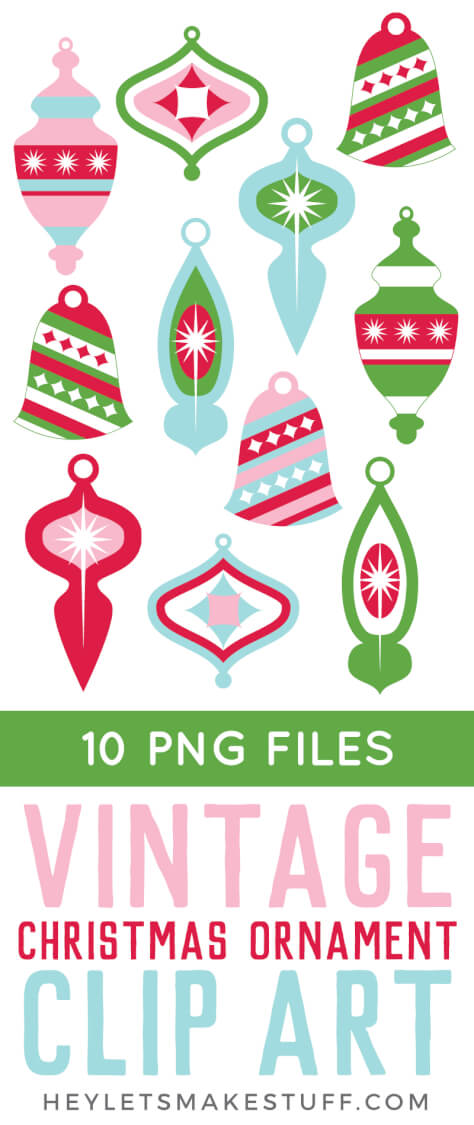 This vintage Christmas ornament clip art set is perfect for all of your holiday projects! Use these fun, retro PNGs on Christmas cards, gift tags, holiday party invites, and more!