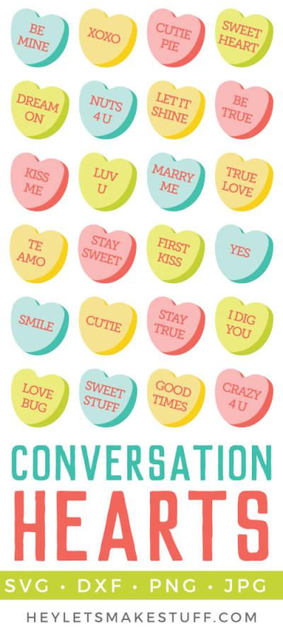 Delicious conversation hearts clip art and cut files are a yummy addition to all of your Valentine's Day projects and decor! Add to Valentine's invitations or cut a big conversation heart in vinyl for a t-shirt or tote bag. 49 different conversation hearts to choose from!