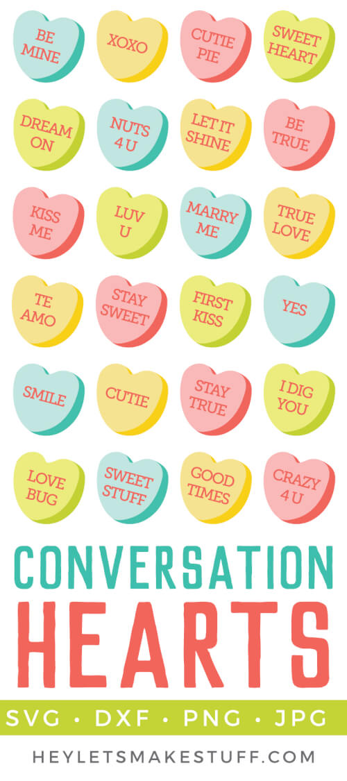 Delicious conversations hearts clip art and cut files are a yummy addition to all of your Valentine's Day projects and decor! Add to Valentine's invitations or cut a big conversation heart in vinyl for a t-shirt or tote bag. 49 different conversation hearts to choose from! via @heyletsmakestuf
