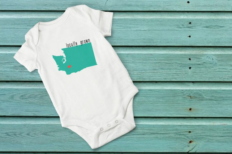 """Show your love for your home state with these adorable """"locally grown"""" cut files! Particularly cute on onesies, but also perfect for t-shirts, mugs, and totes. The heart can be moved around to be placed on your hometown. Get them individually or as a set of 50."""
