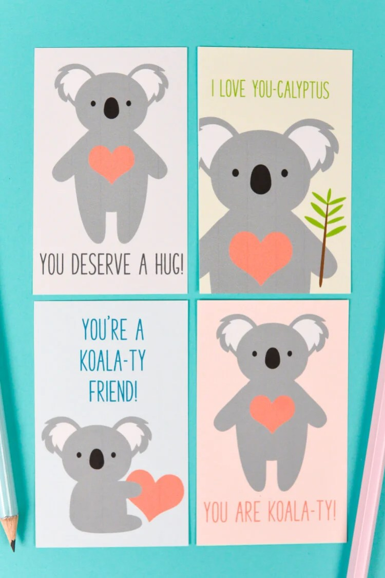 Print these four adorable Koala Valentines with this free download! A cute Valentine for friends and classmates!
