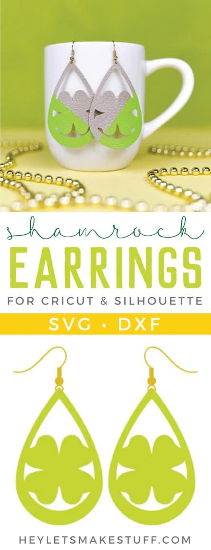 Use your Cricut to make these cute faux shamrock earrings—they'll keep you from getting pinched on St. Patrick's Day. An easy St. Patrick's Day jewelry project. via @heyletsmakestuf