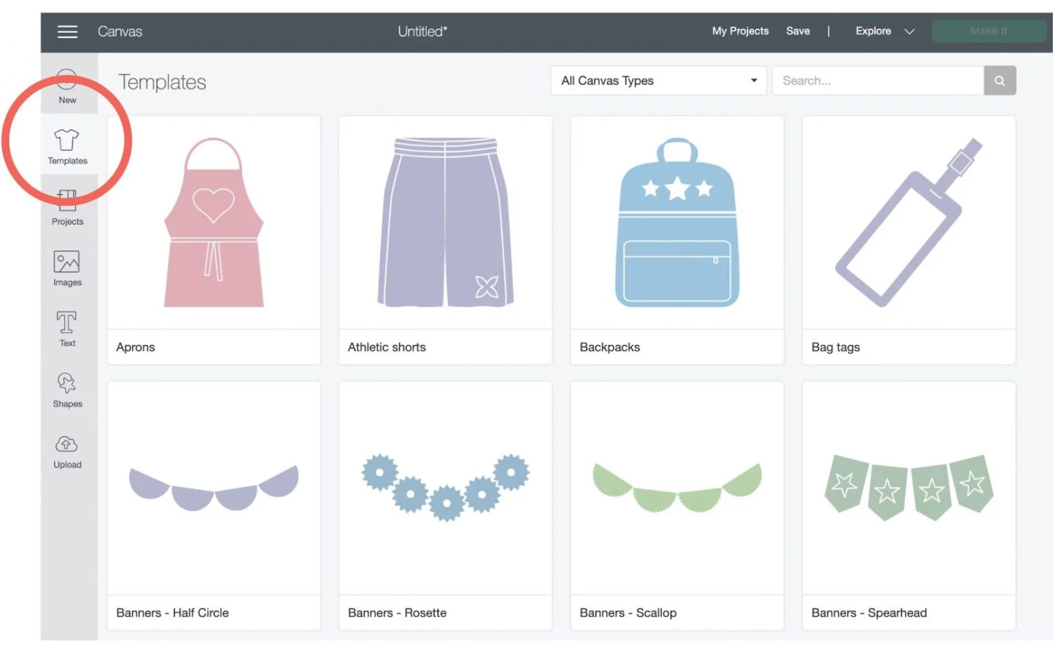 Screenshot: showing where Templates are in Cricut Design Space