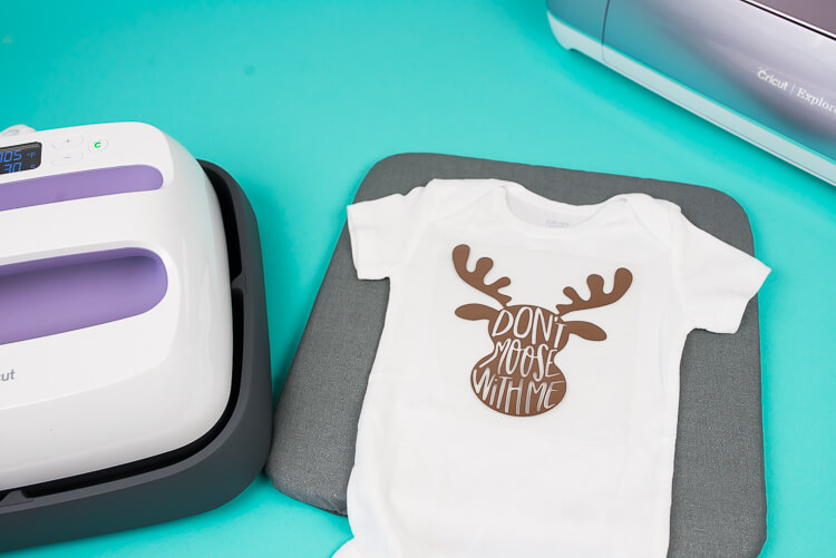 Cricut EasyPress, Onesie, and Cricut Explore Air 2.