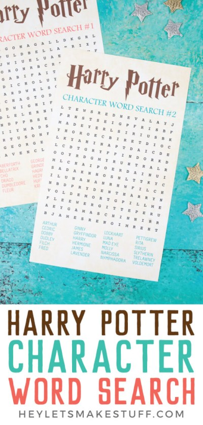 Throwing a Harry Potter party? Want a fun game that will take you back to Hogwarts? Download this free printable Harry Potter word search! Two different word searches filled with all of your favorite Harry Potter characters.