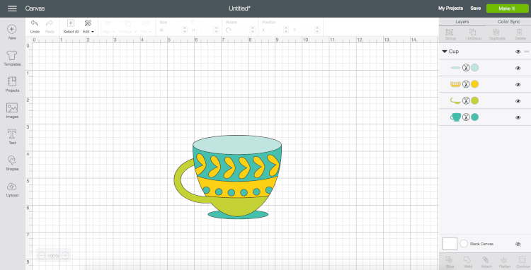 Changed colors of coffee cup | Want to curve text in Cricut Design Space? You finally can! This long awaited feature is easy to use—just follow these simple instructions to be curving your text in no time.