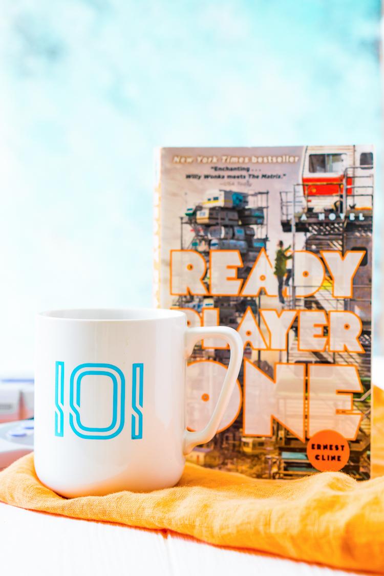 Ready Player One Mug with IOI Logo in Blue Vinyl.