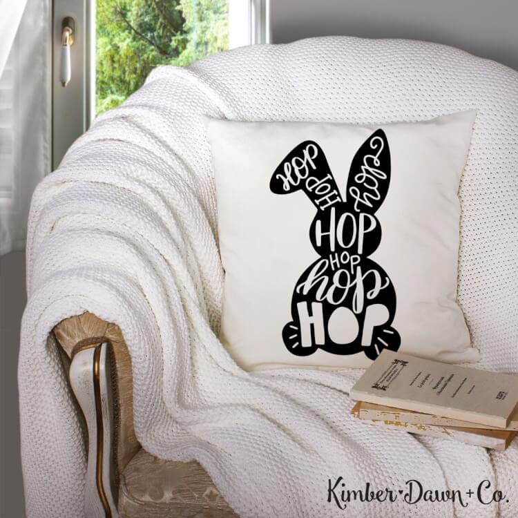 """Hop Hop Bunny"" I'm sharing my favorite FREE SVGs for Easter and spring! All the colors, designs, decor, and adorable characters you'll need for a fun and festive season."