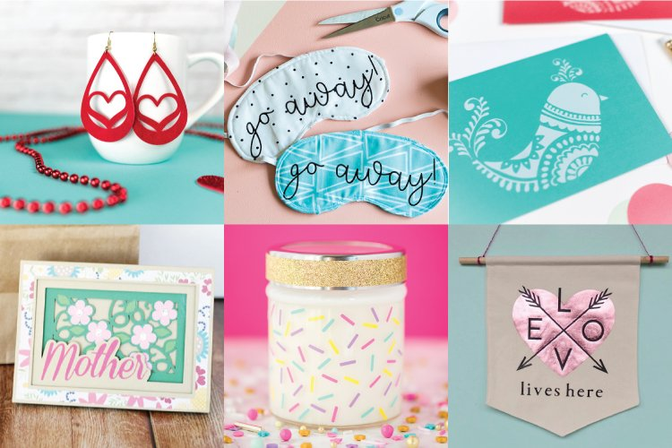 Collage of Mother's Day projects with the Cricut